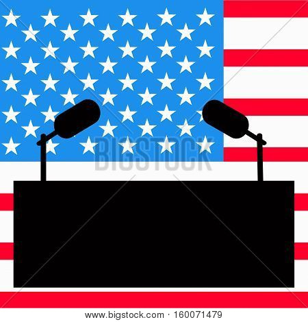 Tribune for an interview the speaker of a press a conference. The microphone against the background of the American flag. Vector illustration