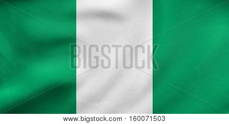 Flag Of Nigeria Waving, Real Fabric Texture