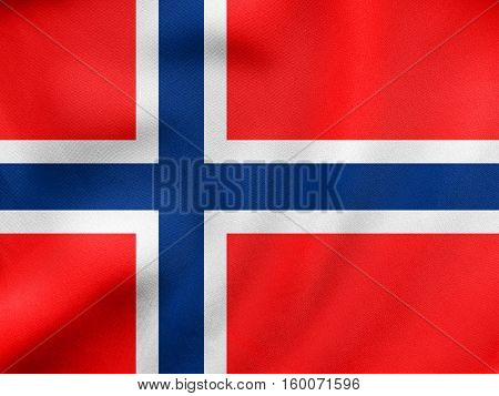Flag Of Norway Waving, Real Fabric Texture