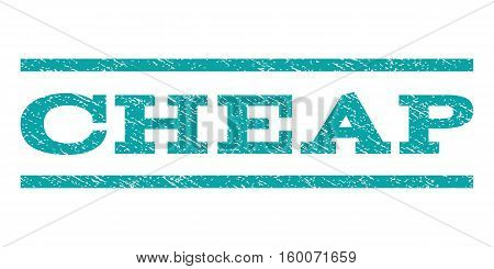 Cheap watermark stamp. Text caption between horizontal parallel lines with grunge design style. Rubber seal cyan stamp with scratched texture. Vector ink imprint on a white background.