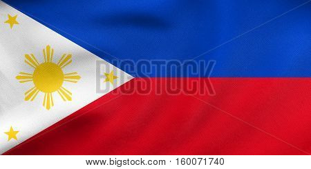Flag Of The Philippines Waving Real Fabric Texture