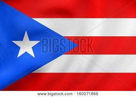 Flag Of Puerto Rico Waving, Real Fabric Texture