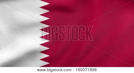 Flag Of Qatar Waving, Real Fabric Texture