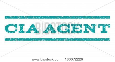 CIA Agent watermark stamp. Text caption between horizontal parallel lines with grunge design style. Rubber seal cyan stamp with scratched texture. Vector ink imprint on a white background.