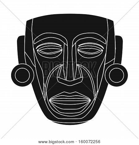 Mayan mask icon in black style isolated on white background. Mexico country symbol vector illustration.