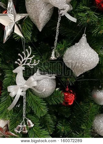 Embellished Christmas tree decoration  glitter silver ornaments