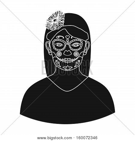 Mexican woman with calavera make up icon in black style isolated on white background. Mexico country symbol vector illustration.