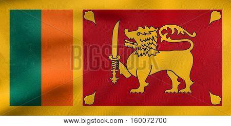 Flag Of Sri Lanka Waving, Real Fabric Texture