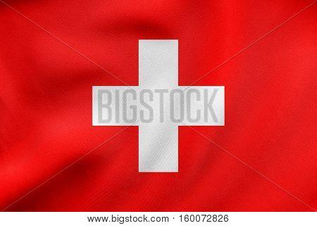 Flag Of Switzerland Waving, Real Fabric Texture