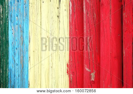 Old blue red and white weathered distressed wood oak plank post background