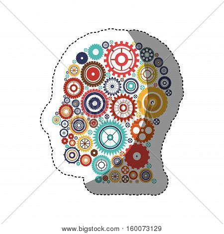 Gears and human head icon. Cog circle wheel machine part and technology theme. Isolated design. Vector illustration
