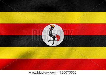 Flag Of Uganda Waving, Real Fabric Texture