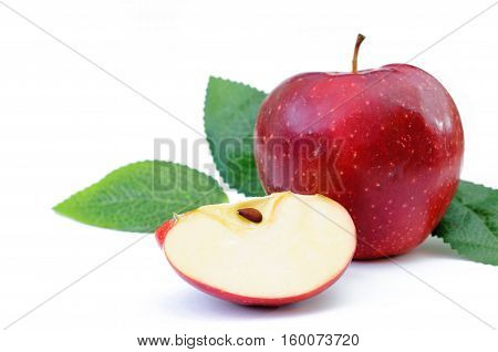two red apple with leaf on white background