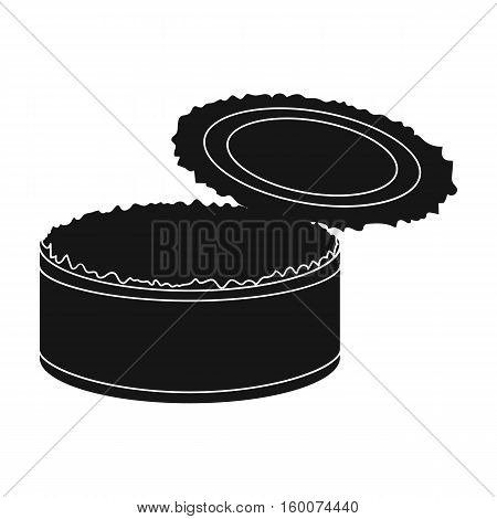 Opened metal tin can icon in black style isolated on white background. Trash and garbage symbol vector illustration.