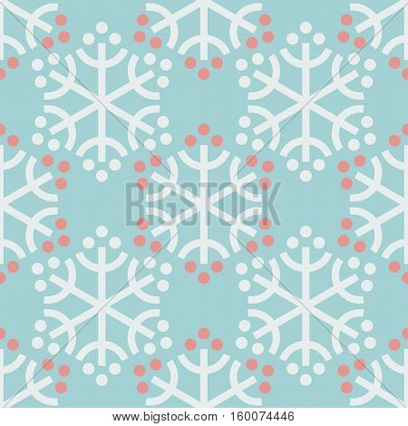 Seamless pattern with decorative snowflakes and berries