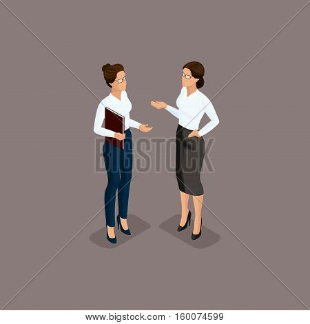 People Isometric 3D business woman business clothes beautiful shoes. The concept of office workers director scolds secretary isolated on a dark background.