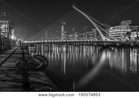 Samuel Beckett Bridge in B&W, Dublin Ireland