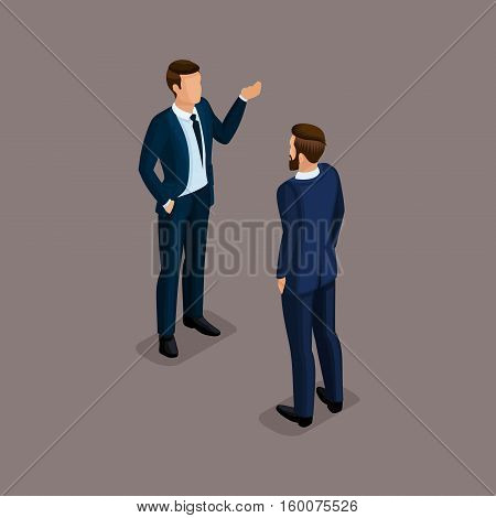 People Isometric 3D businessmen business clothes beautiful shoes. The concept of office workers the director and subordinates isolated on a dark background.