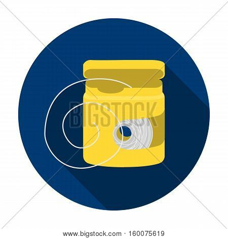 Dental floss icon in flat style isolated on white background. Dental care symbol vector illustration.