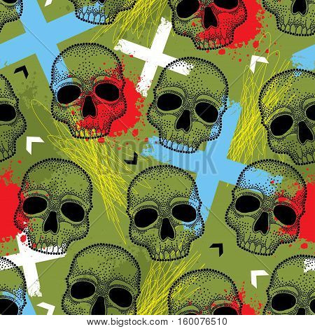 Vector seamless pattern with black dotted skull, arrows, blue crosses and red blots on the khaki background. Bright Halloween background with skulls and traditional creepy symbols in dotwork style.