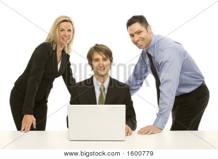 Businesspeople Share A Laptop