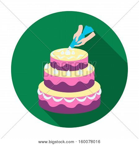 Decorating of birthday cake icon in flat style isolated on white background. Event service symbol vector illustration.