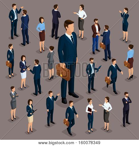 People Isometric 3D the big boss businessman and business woman business clothes. The concept of office workers director and subordinates isolated on a dark