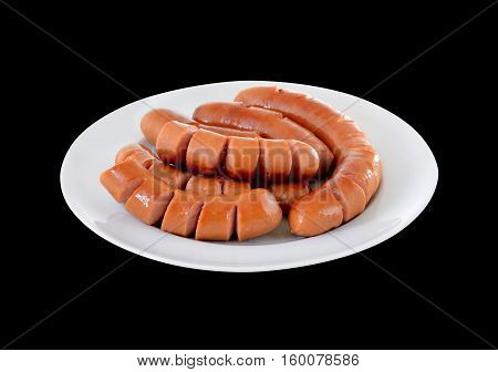 fried sausage on plate with clipping path