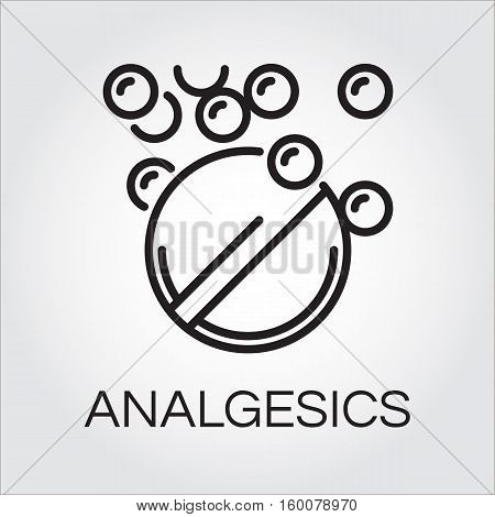 Symbol of analgesic in abstract linear drawn in outline style. Simple line pictograph. Delivery care concept. Linear black logo for websites, mobile apps and other design needs. Vector contour label