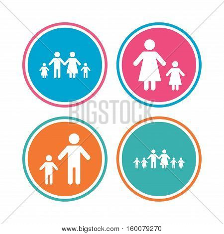 Large family with children icon. Parents and kids symbols. One-parent family signs. Mother and father divorce. Colored circle buttons. Vector