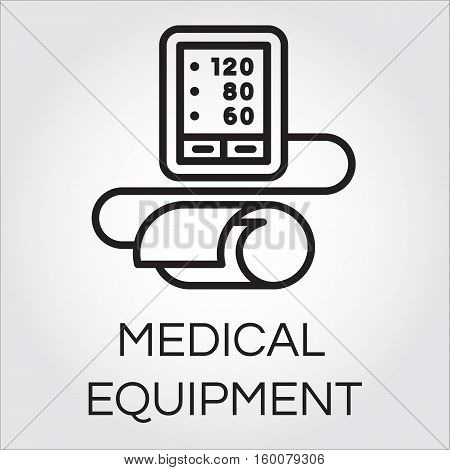 Contour icon of medical automatic tonometer for blood pressure measuring. Black pictograph of medical equipment. Simple line logo for button desing, websites or mobile apps. Vector illustration
