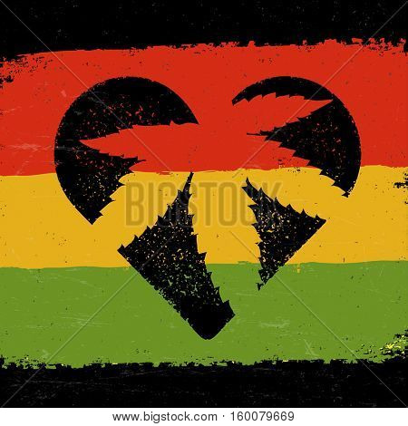 Marijuana silhouette in heart shape. Marijuana leaf and rastafarian flag grunge background