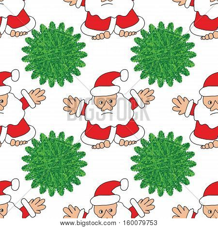 Santa Claus and Christmas tree, seamless pattern