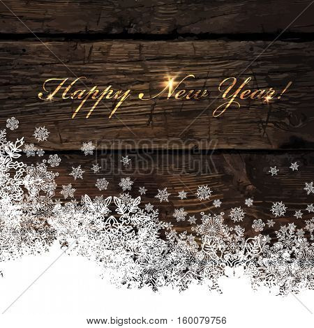 Happy New Year! Golden Greeting on Wooden Background. Snowflakes border isolated by downside.
