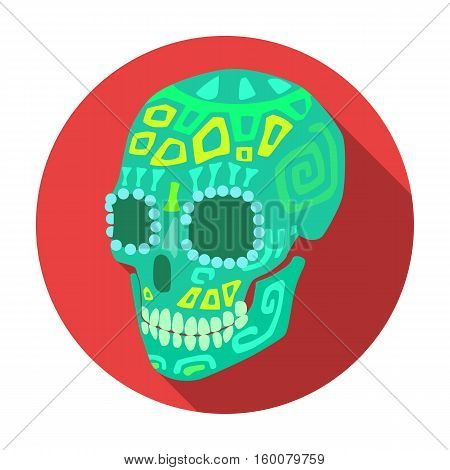 Mexican calavera skull icon in flat style isolated on white background. Mexico country symbol vector illustration.