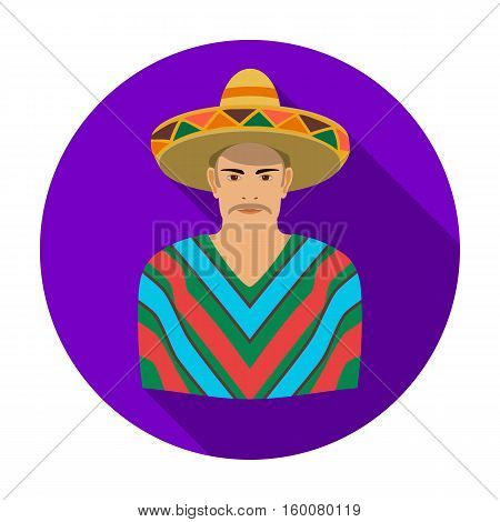 Mexican man in sombrero and poncho icon in flat style isolated on white background. Mexico country symbol vector illustration.