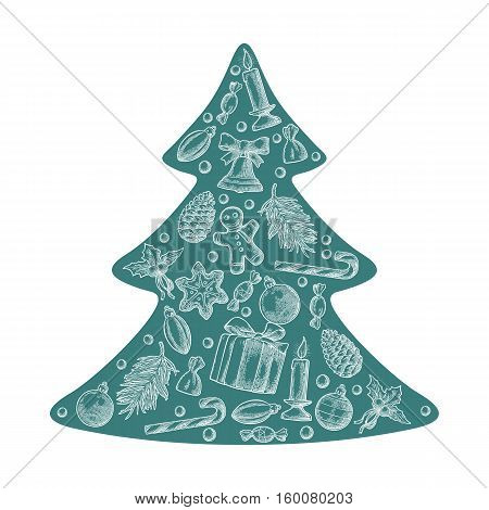 Merry Christmas and Happy New Year set in fir tree shape. Gingerbread man pine cone box candy mistletoe candle branch bell star toy. Vector vintage monochrome engraving illustration.