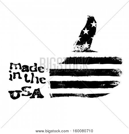 Made in the USA. Thumb up gesture symbol. American flag shaped like symbol. On white background. Black and white