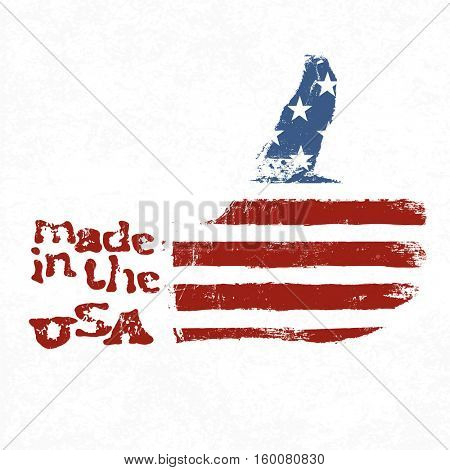 Made in the USA. Thumb up gesture symbol. American flag shaped like symbol. On white background. Grunge textures in separeate layers