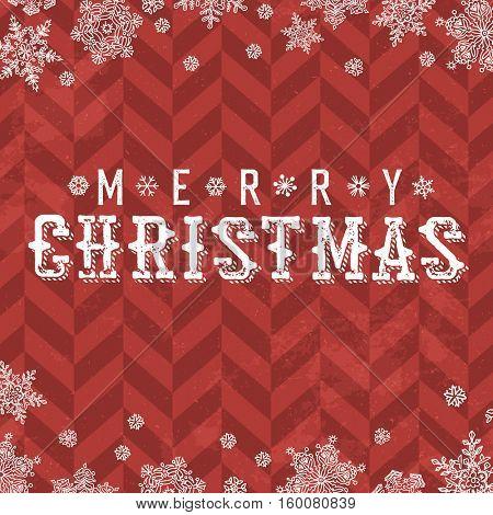 Merry Christmas Vintage Postcard. Snowflake border and xmas typography on red chevron pattern