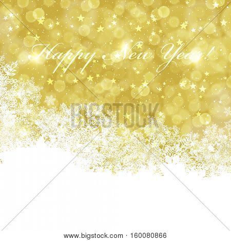 Happy New Year greeting card with golden background. Isolated downside to white