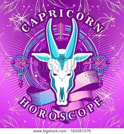 Vector illustration of magic horoscope sign Capricorn style of the 60s bright hippie art