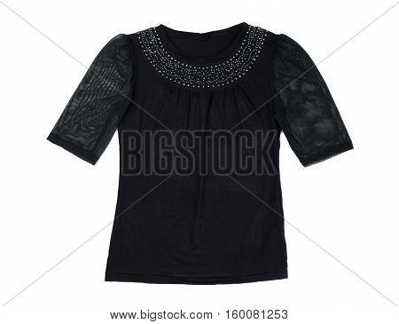 Black fishnet blouse isolate on a white background studio