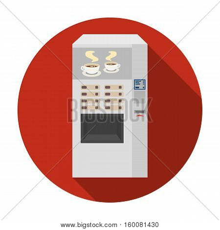 Office coffee vending machine icon in flat style isolated on white background. Office furniture and interior symbol vector illustration.
