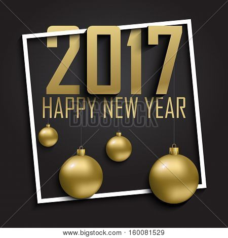 Greeting card, invitation with happy New year 2017 and Christmas. Metallic gold Christmas balls, decoration, shimmering, shiny confetti on a black background. Vector Illustration