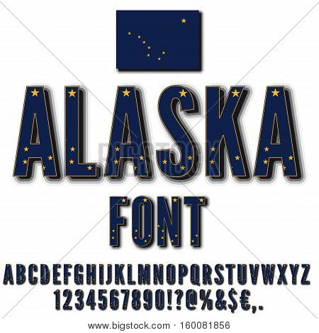 Alaska National Flag stylized Font with shadow. Alphabet and Numbers in Vector Set on white Background