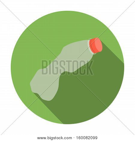Crumpled plastic bottle icon in flat style isolated on white background. Trash and garbage symbol vector illustration.