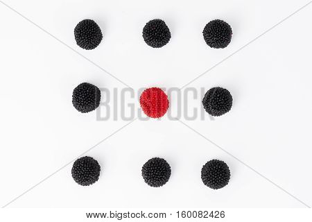 blackberry jelly beans isolated on white blackground
