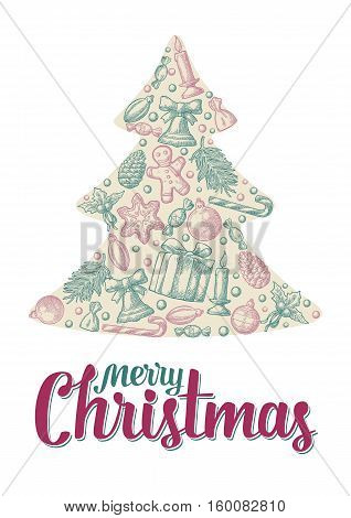 Merry Christmas and Happy New Year set in fir tree shape. Gingerbread man pine cone box candy mistletoe candle branch bell star toy. Vector vintage color engraving illustration.