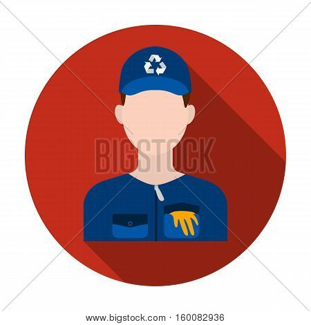 Waste collector icon in flat style isolated on white background. Trash and garbage symbol vector illustration.